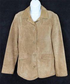 Eddie Bauer Blazer Tan Beige Suede Leather Jacket Womens Size Small S #EddieBauer #Blazer