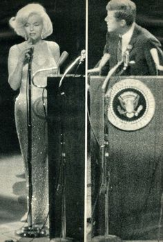 "Marilyn singing ""Happy Birthday"" to President John F. Kennedy and raising a few eyebrows in the process!!!"