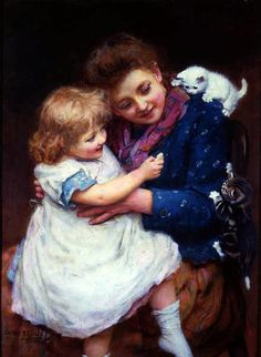 """Playtime"" (1893), by English artist - Arthur John Elsley (1860-1952), Oil on canvas, 30 x 22  1/8 in. (76.3 x 56.2 cm.), Signed and dated 1893, Provenance:  Mrs. Bertha Rose, Estate of Mrs. Bertha Rose, Sold to benefit the Rose Art Museum, Brandeis University, Massachusetts, Schillay & Rehs, Inc., New York City, New York, USA, 1980, Private collection."