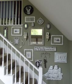 my wall of white. My only criteria for things to hang on it is that it be somet Stairway Decorating criteria Hang somet Wall White Staircase Wall Decor, Stairway Decorating, Stair Walls, Staircase Design, Stairs, Gallery Wall Staircase, Wall Decor Design, Frames On Wall, Diy Home Decor