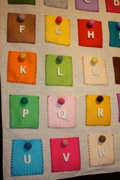 ABC mini pocket felt ball wall hanging children room décor.
