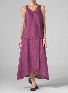 MISSY Clothing - Linen A-line Long Skirt