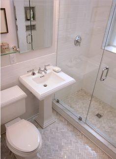Tec white grout on walls & silverado on floor (Houzz)