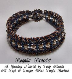 "Seed bead tutorial for Peyote and RAW cuff ""Regalia"" Bracelet in Blue and Gold INSTANT DOWNLOAD"