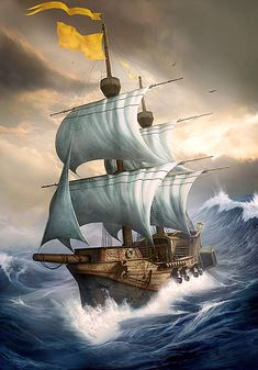 She be a ship in rough seas... aye, but she be sea-worthy, me hearties... batten down the hatches!  #pirates