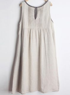 Women's Casual Sleeveless A-line Linen Dress With Pockets - OASAP.com