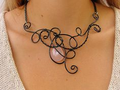 Unusual Necklace - Wire Necklace - Black Wire - Baby Pink Rose Quartz - Wire Jewelry - Wire Wrapped - Swirls - Bib - Christmas Party on Etsy, £24.32