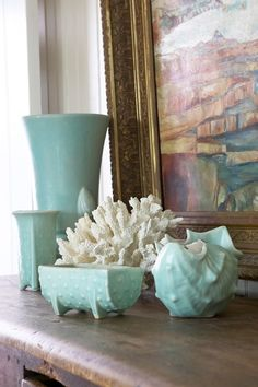 Aqua vintage McCoy pottery and coral