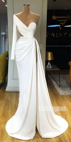 Sexy Simple Affordable Side Split Long Prom Dresses - - Source by sccohaus Elegant Dresses For Women, Pretty Dresses, Sexy Dresses, Beautiful Dresses, Fashion Dresses, Dresses For Work, Formal Dresses, Wedding Dresses, Casual Dresses