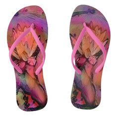 LILY Design in Summer Flowers Flip Flops