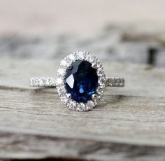 2.11 Cts. Oval Cornflower Blue Sapphire Diamond Engagement Halo Ring in 14K Solid Gold