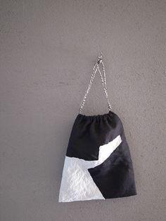 刺し子の巾着・モノトーン