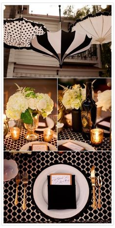 Vintage Hollywood Glam- gold, ivory and black is supremely elegant, and the umbrellas as decor is a very Seattle touch