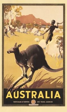 Australian vintage travel postere featuring Aboriginals and kangaroos (artwork by James Northfield) Posters Australia, Australia Tourism, Sydney Australia, Retro Poster, Vintage Travel Posters, Australia Kangaroo, Australian Vintage, Tourism Poster, Travel And Tourism