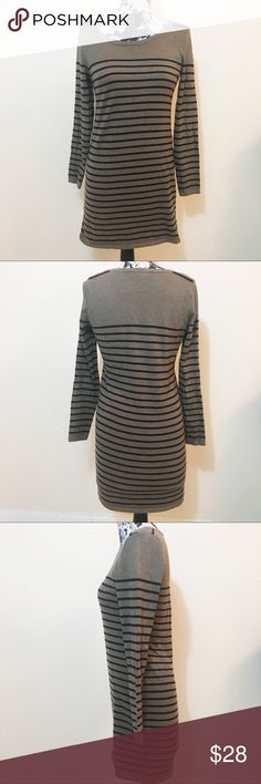 b944580550 LOFT Brown   Black Stripe Sweater Dress Ann Taylor LOFT brown and black  long sleeve sweater dress in size medium.