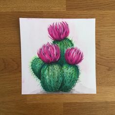 Yep, love is in the air! Just got back from the printer and can't wait to share… - Mini Leinwand Kunst Cactus Decor, Cactus Art, Cactus Plants, Cacti, Cactus Painting, Diy Painting, Watercolor Flowers, Watercolor Paintings, Drawn Art