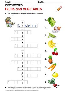 English Crossword, Vocabulary building: Fruits and Vegetables http://www.allthingstopics.com/fruits--vegetables.html