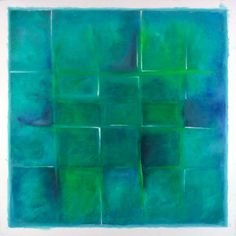 "Saatchi Online Artist: Carl Yoshihara; Acrylic, 2004, Painting ""untitled blue green square, 2004."""
