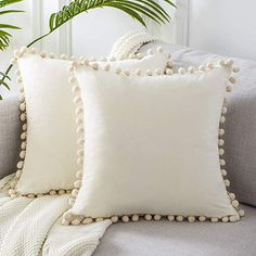Top Finel Square Decorative Throw Pillow Covers Soft Velvet Outdoor Cushion Covers 18 X 18 with Balls for Sofa Bed, Set of Cream: Home & Kitchen Cream Pillow Covers, Cream Pillows, Pink Pillows, Boho Pillows, Throw Pillow Covers, Pillow Cases, White Throw Pillows, Decor Pillows, Couch Covers