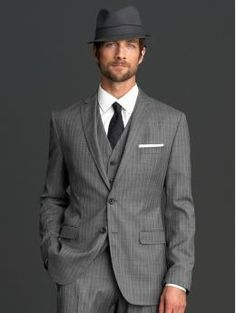The Mad Men® Collection tailored slim two-button suit blazer Charcoal pinstripe  $375.00