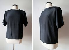 Vintage 80s Solid Black Minimalist Shirt Top Size 10 by 601VINTAGE