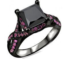 2.50ct Black Princess Cut Diamond Pink Sapphire Engagement Ring 18k Black Gold