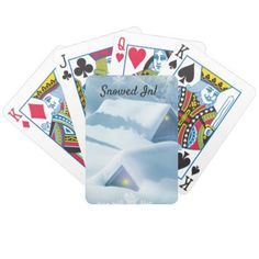 Snow topped roof in a forest. bicycle playing cards - home gifts ideas decor special unique custom individual customized individualized