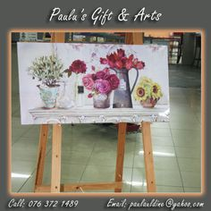 This stunning flower painting is available at our store in Diaz. Come and visit us and have a closer look at this painting. Or call us on: 076 372 1489 See more at: tinyurl.com/qg7f74n #Gifts #Arts #Crafts