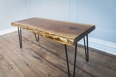 INTRODUCTORY PRICING!! ONLY $450 CAD!!  Our compact Live Edge Coffee Tables are made from locally sourced, sustainably harvested, Canadian Black Walnut. Available on either hairpin legs (the best in the business) or box steel legs. Included in the price is a set of Raw Steel Hairpin legs, please let us know in the comments section if you would like the 1.5 square steel legs. Approximate Dimensions: 40L x 18-20D x 18.5H (custom sizes available upon request)  The best thing about our tables is…