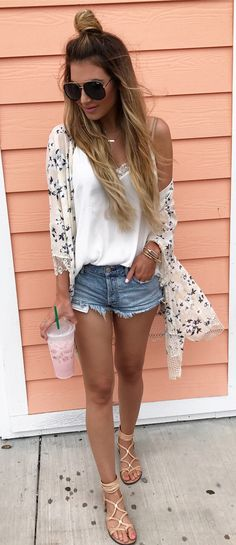 #summer #outfits Printed Kimono + White Tank + Denim Short + Nude Sandals // Shop this outfit in the link