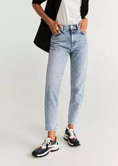 Mango MOM - Straight leg jeans - blue for Free delivery for orders over Jeans Fit, Denim Jeans, Estilo Jeans, Zara, Mode Jeans, Wardrobe Basics, Denim Fashion, Totes, Moda Femenina