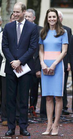 Joyful spirits: Kate beamed as she waited alongside William for Her Majesty to make an app...