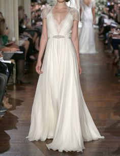 Cap Sleeves Lace Chiffon Wedding Dress Vneck See by harsuccthing, $179.00