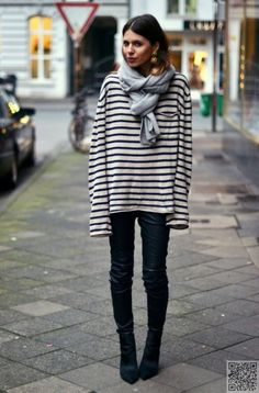 Baggy top, tight black pants chunky scarf