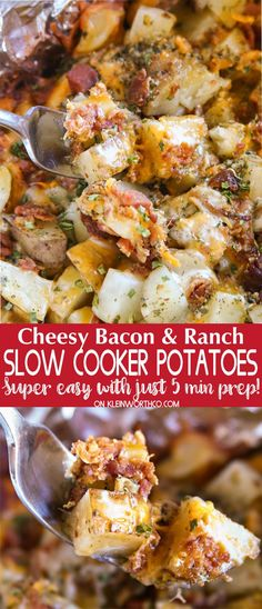 Cheesy Bacon Ranch Potatoes are a simple & easy to make slow cooker recipe. With just 5 minutes of prep, this cheesy potato goodness is great with dinner! via @KleinworthCo