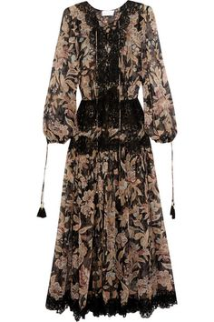 ZIMMERMANN Alchemy Lace-Paneled Printed Silk-Georgette Dress. #zimmermann #cloth #beachwear