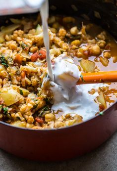Simple Cauliflower, Potato, and Chickpea Curry.