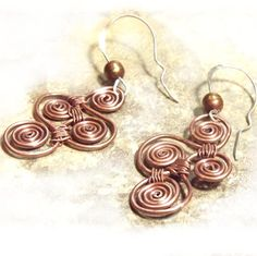 Copper and Sterling Silver Artisan Wire Wrapped Earrings on Etsy, $38.00