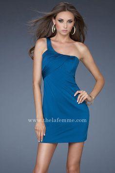 One Shoulder Dark Teal Cut Out Back La Femme 16887 Short Homecoming Dresses