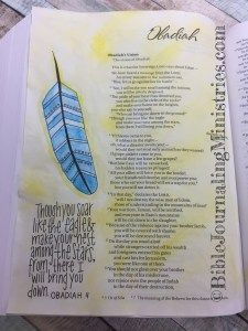 It didn't take much to complete this Bible Journaling entry in the book of Obadiah. I decided to use watercolors to complement this section of my Beautiful Word Bible. Journal Topics, Journal Pages, Lamentations, Psalms, Psalm 50 15, Beautiful Word Bible, Spiritual Names, Bibel Journal, Gel Press