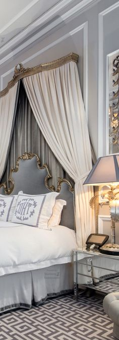 bedroom home design Dream Bedroom, Home Bedroom, Master Bedroom, Bedroom Decor, French Style Decor, Beautiful Bedrooms, Luxury Bedding, House Design, Interior Design