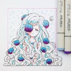 Imagem de anime, anime girl, and drawing Copic Drawings, Kawaii Drawings, Cute Drawings, Art Anime, Anime Art Girl, Manga Art, Arte Copic, Copic Art, Doodle Drawing