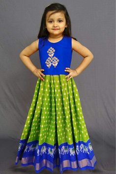 Dark Blue Top And Leaf Green Pochampally Lanhenga For Kids