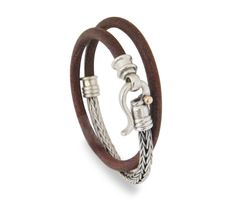 man in handmade Silver Bracelet Brown and Black with 925k Sterling Silver Braided Foxtail Chain 5mm leather - $488.00 Ask a Question $488.00