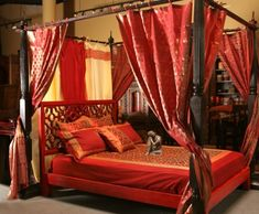 Top 5 Indian Interior Design Trends for 2018 - Pouted Magazine Indian Style Bedrooms, Indian Bedroom, Indian Bedding, Bohemian Bedrooms, Silk Bedding, Red Bedding, Indian Interior Design, Asian Interior, Bedroom Furniture