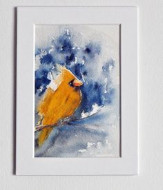 Matted, Original Watercolor painting.  5x7. Ready To Frame. Gifts, Bird Painting. Yellow bird, hand painted watercolors,Spring,Easter gift