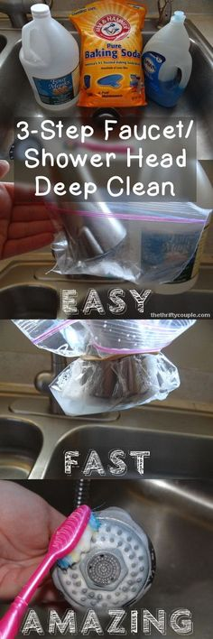 Cleaning the gunky faucets and shower heads using a homemade cleaning solution. Makes the faucets clean and shiny, even in the deep crevices. Love cleaning hacks like this to make my life easier.