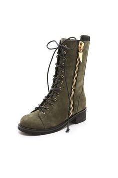 I love love these olive green Combat Boots!  May I have $1,450.00 to buy these?! (Giuseppe Zanotti)