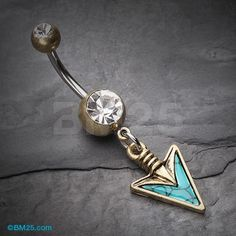 Vintage Boho Stone Spear Belly Button Ring