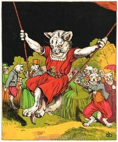 "Another charming anthropomorphic colour study entitled ""The Swing"", taken from the story of ""The Cats Tea Party"", just one of the stories included in ""The Poll-Parrot Picture Book"" published in 1871 by George Routledge & Sons. It carries a rare logo designed by Harrison Weir, that appears only on a small number of colour book plate images such as this, plus one or two rare black and white engravings. Currently available in A4, A3 and a bold statement in A2."